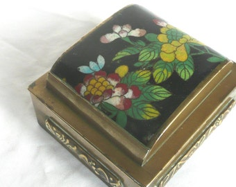 Vintage cloisonne box - Chinese cloisonne and brass box - Chinese cloisonne box - antique Chinese brass and cloissone box