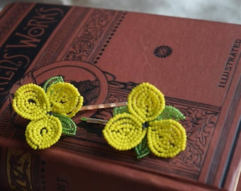 Vintage Beaded OOAK Yellow Flower Bobby Pins, OOAK Hair Pins, Upcycled Earring Hair Jewelry, Hair Accessory Gift for Her