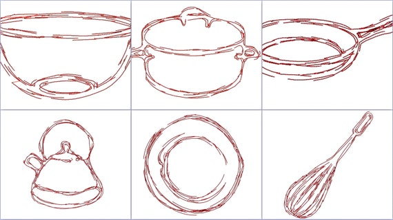 kitchen embroidery designs. Kitchen redwork doodle embroidery design  Modern Hipster housewarming gift wedding Sketch from jazziest