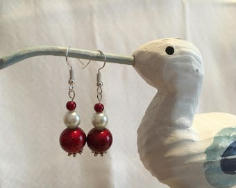 Red and white bead earrings