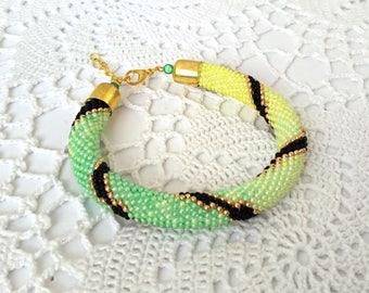 Yellow Green Gradient Beaded Bracelet, Crochet Bracelet, Beadwork Bracelet, Rope Jewelry, Rope Bracelet, Beadwork Bracelet