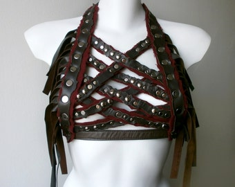 Dream Warriors brown leather & red wool crisscross halter top /harness/breastplate/tassel crop top. Post apocalyptic mad max fantasy fashion