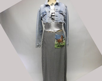 Checked Maxi Skirt with Needlepoint pocket OOAK