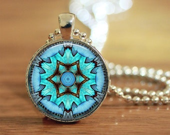 Mandala Pendant, Aquamarine Pendant, Kaliedoscope Pendant, Boho Pendant