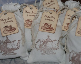 Baby Shower Tea Party Favor Bags 30, Personalized Tea Party Favor Tags, Muslin Favor Bags, A Baby is Brewing