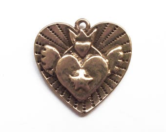 2 Charms 24 mm bronze winged heart