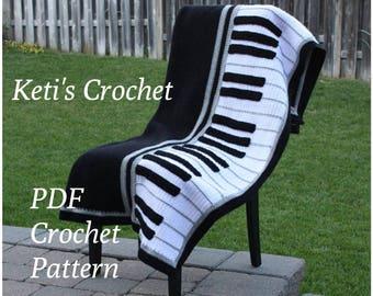 Crochet Pattern for Piano Blanket,Piano Blanket Crochet Pattern,Piano Crochet Pattern,Piano Blanket,Piano Afghan Crochet Pattern,Piano Throw