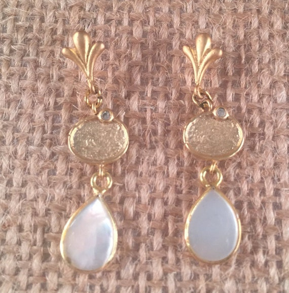 Mother Pearl Pendants and Gold Cubic Zircon Charms Earrings, Sprouts Posts, 22k Gold Plated. 25 inches (3.1 cm) total length