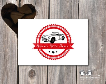 Old map theme Father's Day Car, print card, size 10x15 cm, recto, pro printing on demand