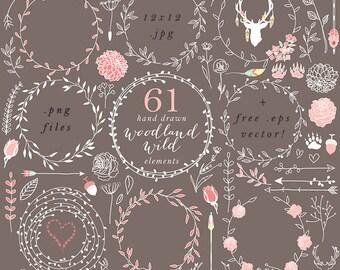 Wreath clip art - hand drawn wreath clip art digital handdrawn floral wedding clipart pink shabby romantic branches leaf woodland chic fauna