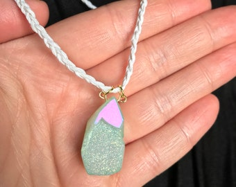 Handmade iridescent stone necklace with matching bracelet