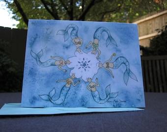 Mermaid Snowflake Holiday Cards - Set of ten
