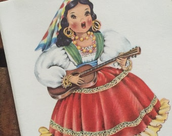 Vintage Dolls of Many Lands Card - Doll of Mexico - Blank Inside - Unused