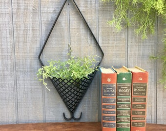 Vintage Mid Century Black Metal Wall Pocket Planter