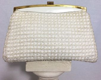 1960's wedding clutch bag, Party purse, Soft clutch, Vintage clutch, 1960's vintage bag.