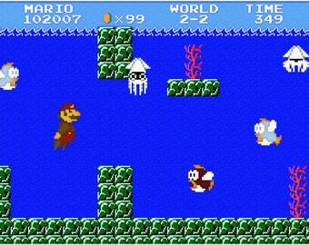 Video Game Print - Super Mario Brothers - Nintendo Tribute