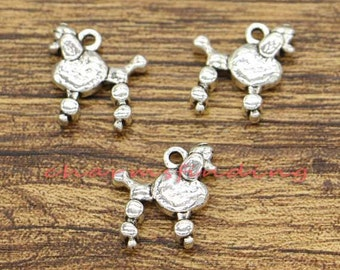 30pcs Dog Charm Poodle Charm Antique Silver Tone 14x15mm cf2053