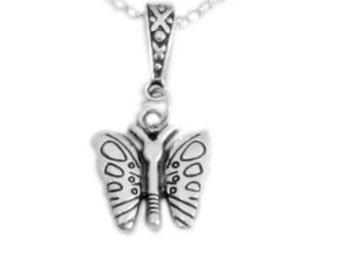 La mariposa collar, collar de mariposa de plata, colgante de mariposa pequeña, mariposa encanto collar, collar de encanto pequeño Reino Unido