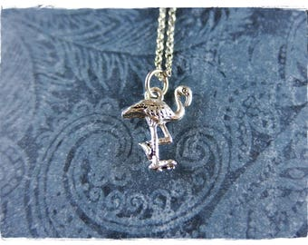 Tiny Silver Flamingo Necklace - Silver Pewter Flamingo Charm on a Delicate Silver Plated Cable Chain or Charm Only