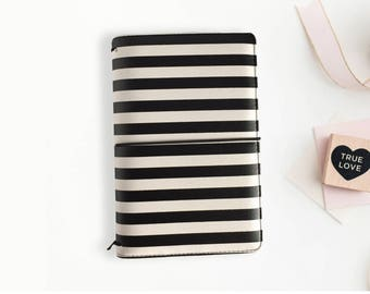 CLEARANCE Black and White Stripe Travelers Notebook, Striped TN, Notebook Cover, Leather notebook, folio