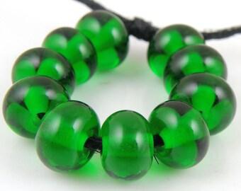 030 Transparent Dark Emerald Green Made to Order SRA Lampwork Handmade Artisan Glass Spacer Beads Set of 10 5x9mm