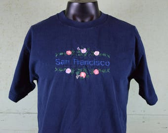 90s Vintage SAN FRANCISCO tee shirt / California / Flowers / Embroidered / Souvenir / Travel / Haight Ashbury / Large
