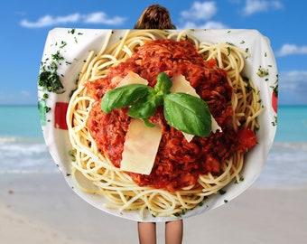 Round Beach Towel Food,  Beach Towel  Beach Blanket, Circle beach Towel,60 inch round towel,Circle Towel, Large Beach Towel, Spaghetti