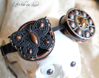 """""""The secret of the Butterfly"""" Brown and copper steampunk goggles"""