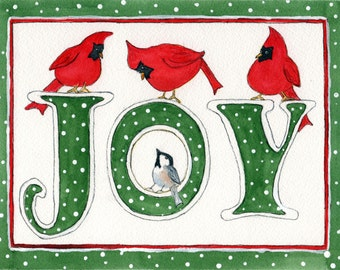 Watercolor Christmas Card of Cardinals.  Inside of card:  Joy to the world!