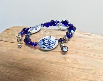 Blue Porcelain Wrist Wrap