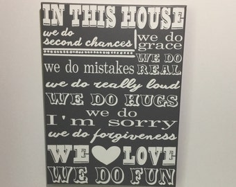 Painted canvas sign - house rules - family rules sign - first home gifts