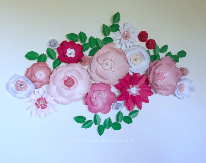 Paper flowers wall decor mi prima belle pink paper flower wall decor giant pink flower wall white floral backdrop photo booth wedding flowers mightylinksfo