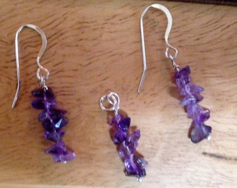 Amethyst Chip Jewelry, Amethyst Earrings, Amethyst Pendant, February Birthstone Jewelry, Sterling silver findings, Ready to ship