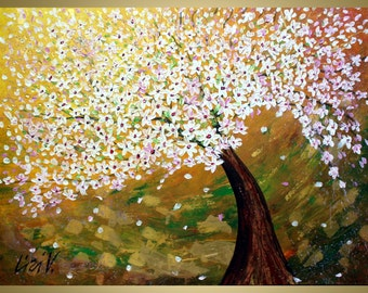 Original Modern Abstract Tree Landscape Palette Knife Gold Metallic Huge Painting  by Luiza Vizoli CHERRY BLOSSOM at SUNSET