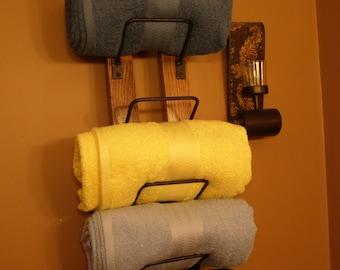 Bathroom Towel Rack made from reclaimed wooden wine barrels
