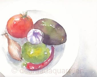 Guacamole. Original watercolour.