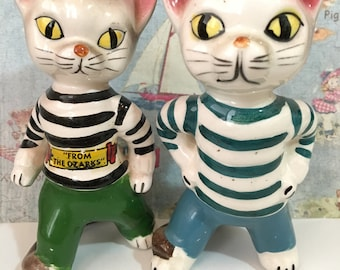 FREE WORLDWIDE SHIPPING Very Rare Vintage Sailor Cats Kittens Salt and Pepper Shakers Antique Collectibles or Cake Toppers