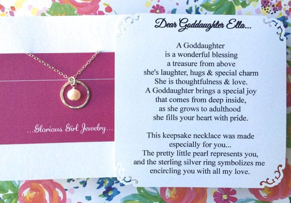 GODDAUGHTER Gift With POEM CARD   Goddaughter Jewelry Gift For Goddaughter  Pearl Sterling Silver Baptism Confirmation God Daughter Birthday