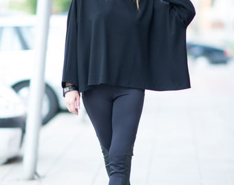 Loose Casual Plus Size Blouse, Extra Long Loose Sleeve Top, Plus Size Top, Black Casual Top, Oversize Top, Womens Clothing - TP0482GE