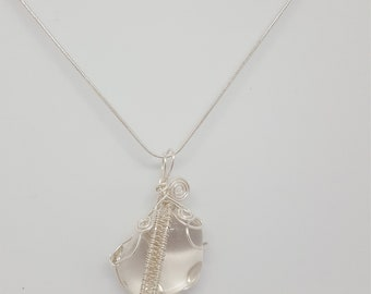 Clear quartz  sterling pendant