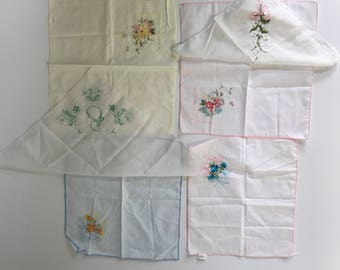 Vintage set of six hankies, floral embroidered hanky collection