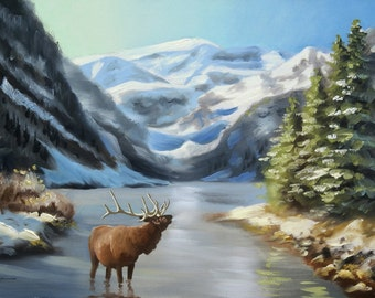 Elk, wildlife animal landscape 24x36 oils on canvas painting by RUSTY RUST / E-164