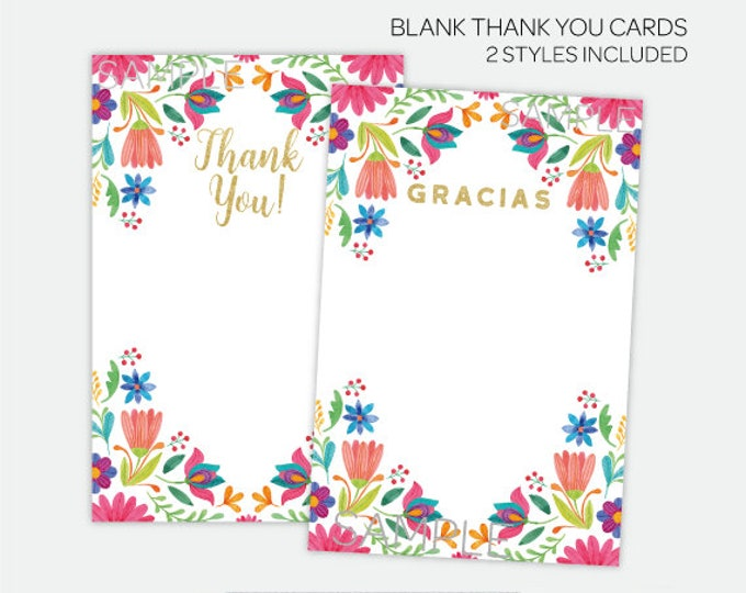 Fiesta Thank You Cards, Fiesta Birthday Party or Baby Shower, 2 styles included, Printable files, DIGITAL, Instant Download