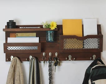 Entryway Organizer, Wood Shelf, Floral Vase, Mail Organizer, Coat Rack, Key Hooks, Hallway Decor, Decorative Metal Inlay