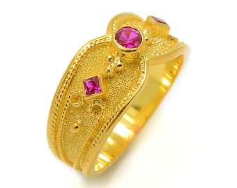 Unique Gold Jewelry For Women, Gold Wedding Ruby Ring, 14K Organic Gold Ring, 3 Stone Engagement Ring,Ruby Yellow Gold Ring, Solid Gold Ring