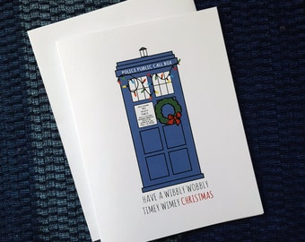 Set of 4: Doctor Who inspired Tardis Christmas Cards - Blank Inside - Have a wibbly wobbly timey wimey Christmas