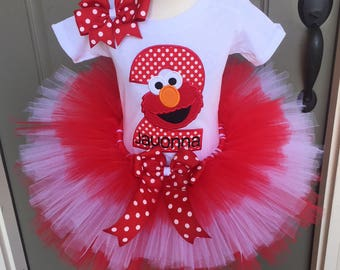 Elmo Birthday Party Tutu Outfit Dress Set Handmade 1st 2nd 3rd Sesame Street Birthday in Red and White