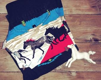 Galloping Horses - Vintage Childrens Westernwear Shirt Sz M