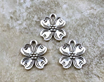 3 Pewter Dogwood Flower Charms - Free Shipping in the US - (0826)
