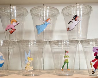 Peter Pan 12 oz party cups with lids, birthday, baby shower, first birthday